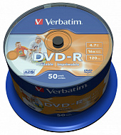 Диск DVD-R VERBATIM 4.7Gb 16x Cake Box (50шт) Printable
