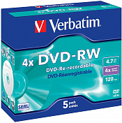 Диск DVD-RW VERBATIM 4.7Gb 4x Jewel case (5шт)